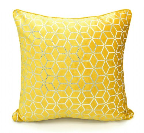 Large Geometric Shimmer Glitzy Metallic Foil Print Design Filled Scatter Cushion Ochre